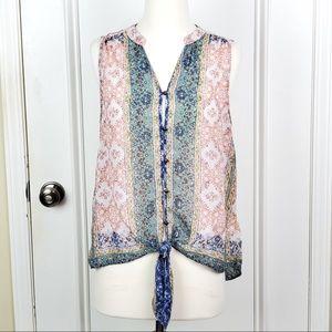 Knox Rose   Pink Green Sheer Floral Waist Tie Top